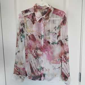 Guess Multicolor Sheer Abstract Button Down Shirt